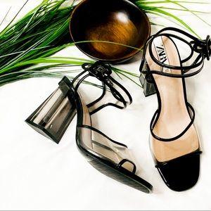 Zara Black Lucite block heel ankle strap sandal
